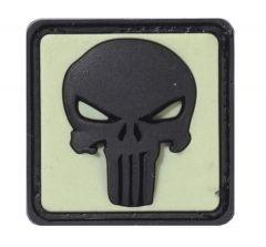 Nášivka Punisher, neonově žlutá ve tmě, černá