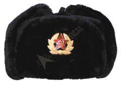 Ruská beranice se znakem, černá