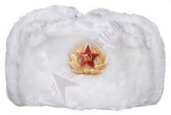 Ruská beranice se znakem, bílá