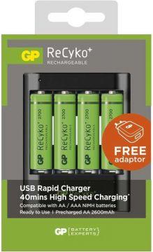 Nabíječka GP USB U421 + 4 x AA bateire GP 2700