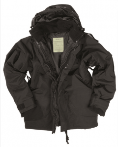 Nepromokavá bunda Mil-Tec ECWCS s fleece vložkou, černá